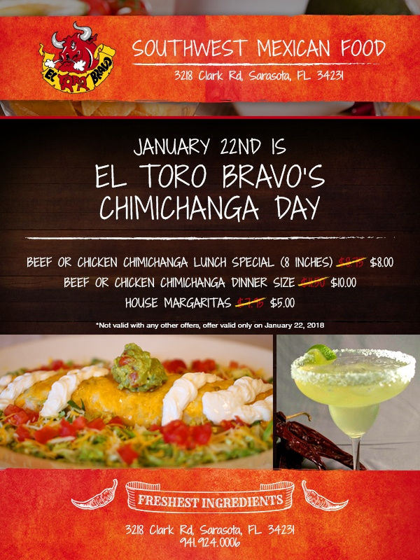 January 22nd is El Toro Bravos Chimichanga Day
